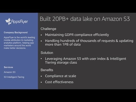AWS re:Invent 2019: Implementing a data lake on Amazon S3 ft. AppsFlyer (STG333) - benefits