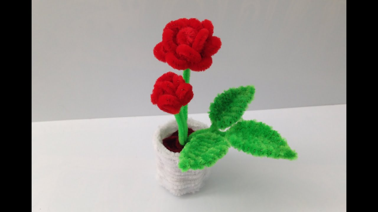 How to make a pipe cleaner rose pot 1 the rose youtube for Cool things to do with roses