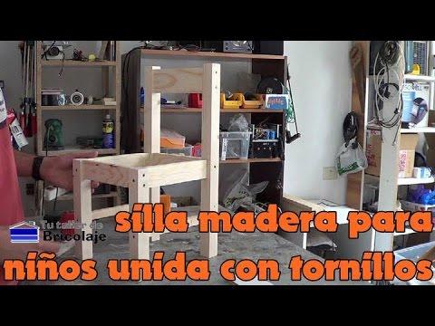 C mo hacer sillas de madera para ni os con tornillos 1 2 youtube - Como tapizar sillas de madera ...