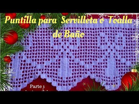 Puntilla para Servilleta o toalla de Baño para Principiantes #26 Parte 1