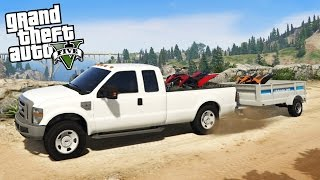 ford f350 super duty 4x4 towing challenge hauling 2 atvs off road mudding gta 5 pc mods