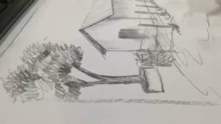 How to draw scenery with 6B pencil made by  Sudam Mali