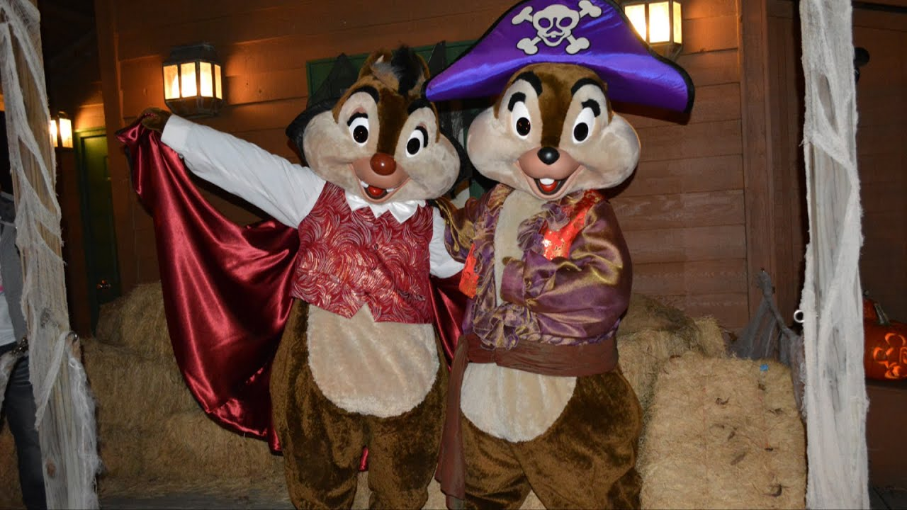 chip and dale greet guests as pirate and vampire for halloween disneys fort wilderness resort