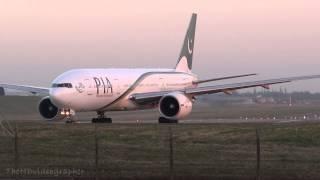 PIA Boeing 777 Evening Arrival • Birmingham Airport Runway 33