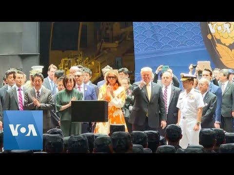 Abe, Trump Inspect Japanese Destroyer Kaga