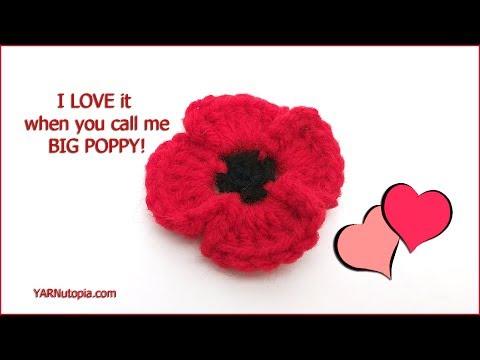 How to Crochet Tutorial: DIY Poppy Flower by YARNutopia