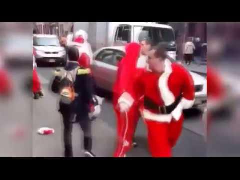 Videos de Risa para navidad: Caídas graciosas de Santa Claus, Santa Claus peleando, borracho y mas