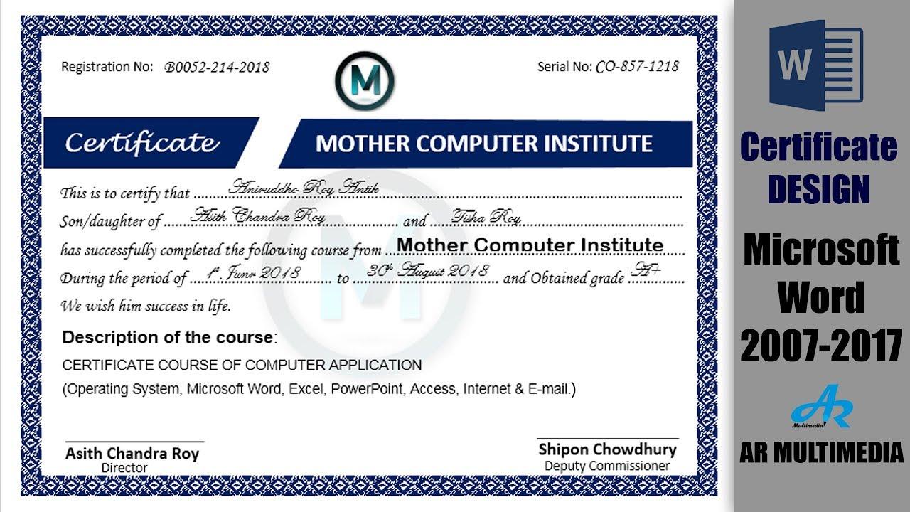 Making Design A Certificate In Word 2013best Certificate Design In