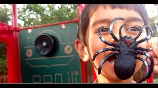Kids Playing on Playground Slides Attacked by BUGS-Rescue mission-Creepy Crawly Snake,Spider Toys