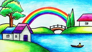 How to Draw Rainbow Scenery with Color Pencils for Beginners | Easy Rainbow Scenery Drawing
