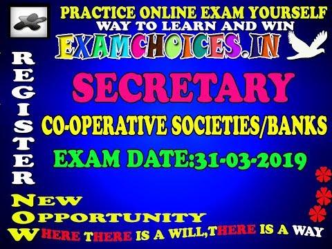 31-03-2019 SECRETARY COOPERATIVE SOCIETIES/BANKS FREE ONLINE EXAM PRACTICES