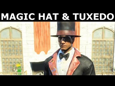 Fallout 4 Nuka World - Oswald's Tophat & Magician's Tuxedo - New Unique Outfit Showcase