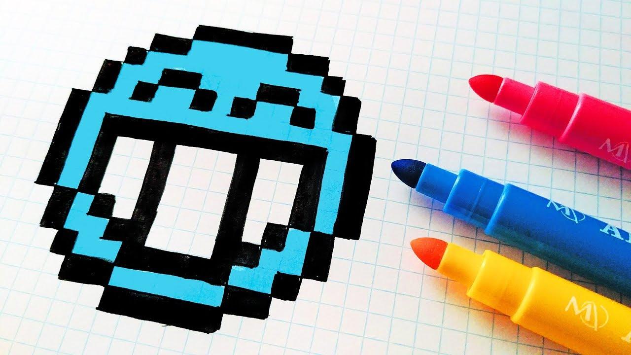 Handmade Pixel Art - How To Draw a Blue Emoji #pixelart - YouTube