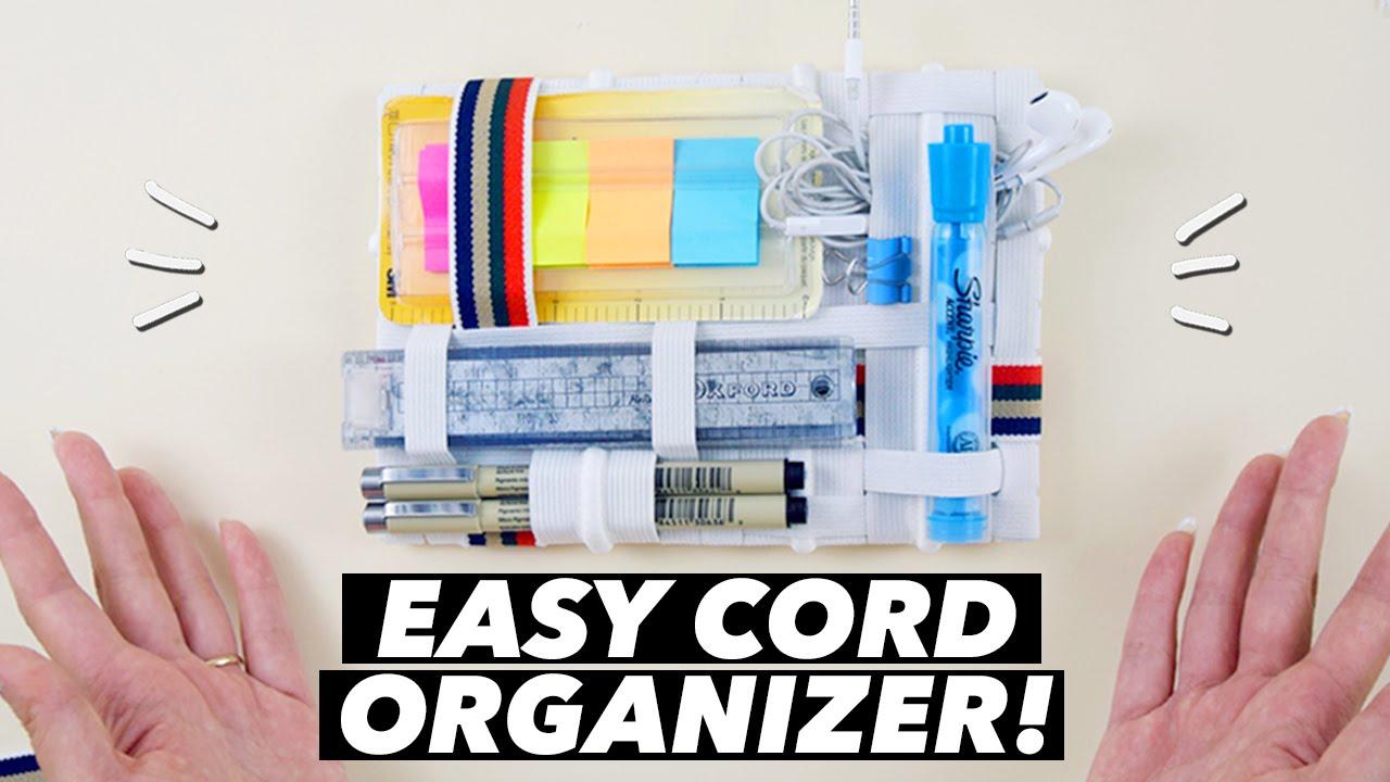 EASY DIY Cord Organizer! (How to Make a Grid-It Organizer ...