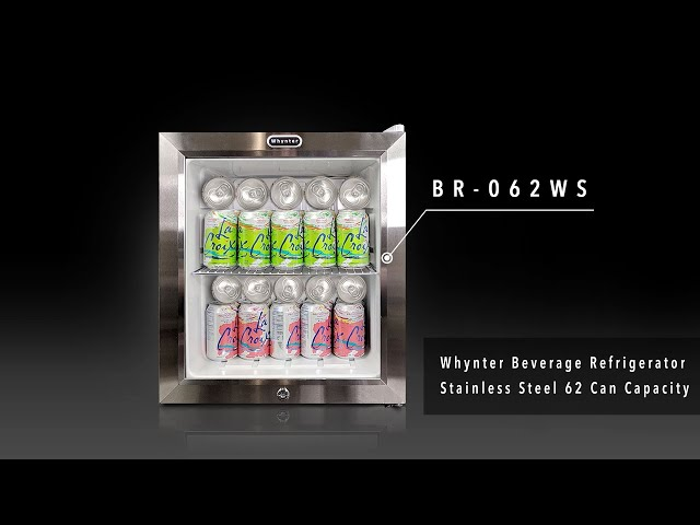 BR-062WS Whynter Beverage Refrigerator With Lock – Stainless Steel 62 Can Capacity