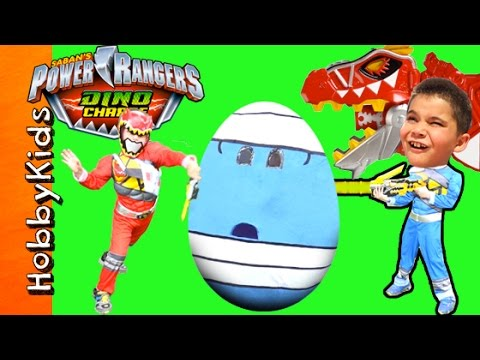 Giant POWER RANGERS Surprise Egg Adventure with Dino Charge Toys