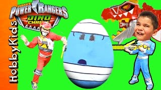 Giant POWER RANGERS Surprise Egg Adventure with Dino Charge Toys thumbnail