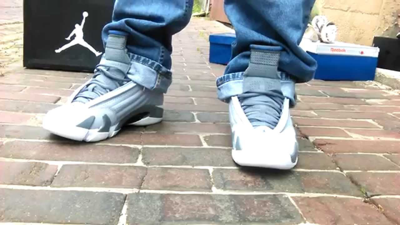 50829dd23c5f88 ... sale air jordan retro 14 wolf grey and sports blue on feet youtube  0e4db 92177