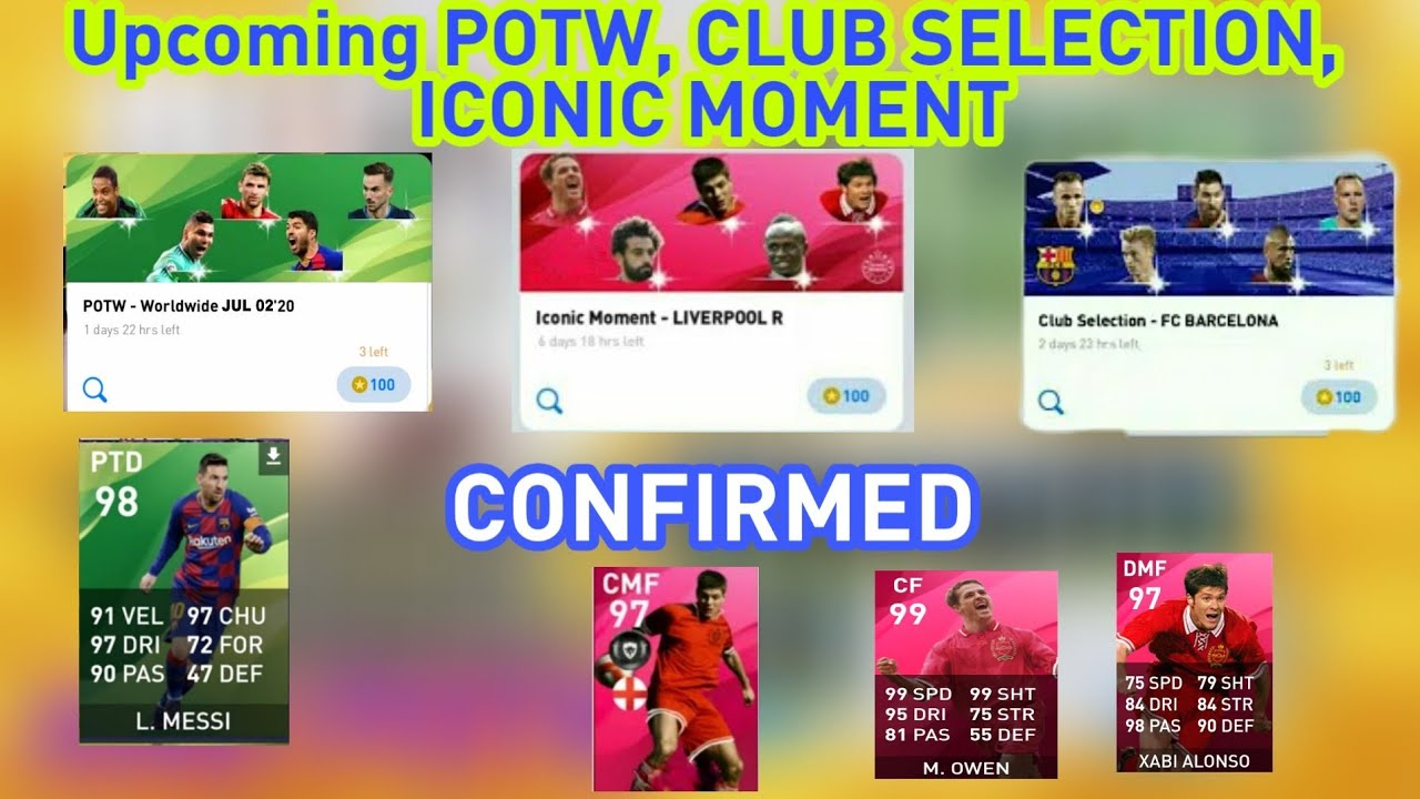 WHAT IS COMING THURSDAY POTW, ICONIC MOMENT & MONDAY CLUB SELECTION PES 2020 THURSDAY MONDAY EVENT
