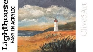 Seascape Painting Tutorial of Coast and Lighthouse Acrylic Lesson