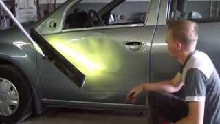 видео Удаление вмятин без покраски места повреждения кузовной детали