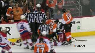 Brawl in 1st. Simmonds, Schenn, Erskine,  Washington Capitals vs Philadelphia Flyers  3/5/14