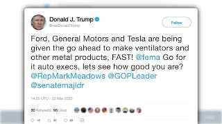 trump calls on GM, Ford to start making ventilators