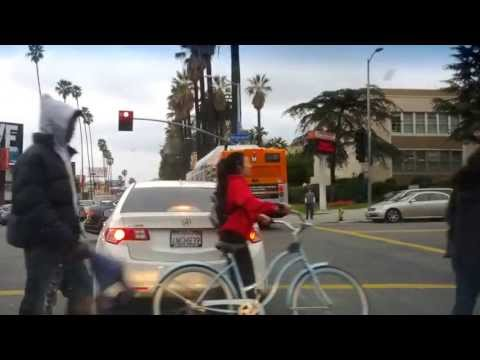 NELA TV Bus vs car bus runs redlight in Hollywood car vs bus
