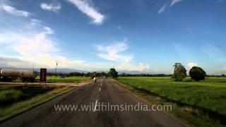 Distant hills of Arunachal Pradesh from Assam plains