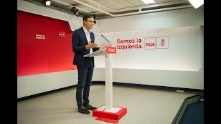 Comparecencia de Pedro Sánchez en Ferraz