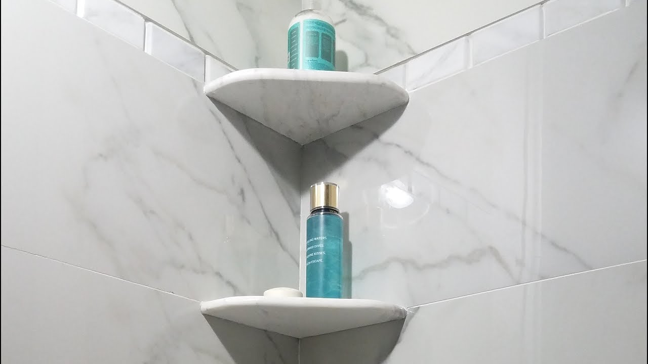 DIY Easy & Strong Installation of Shower Corner Shelf. EZ ... on Bathroom Corner Shelf  id=84055