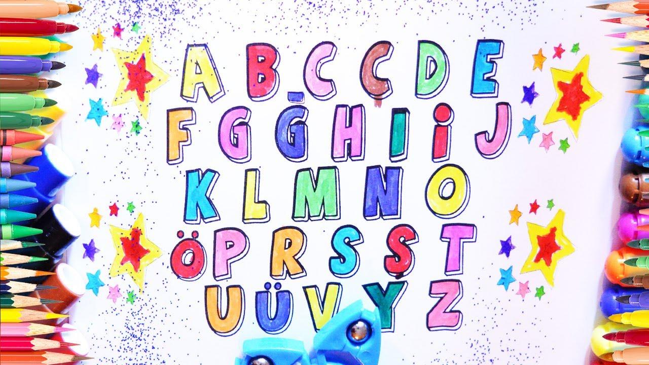 Alfabe öğreniyorum Boyama Sayfası Renkleri öğreniyorum Sesli