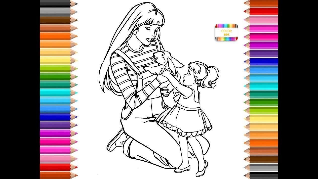 Colorear Barbie y niña con muchos colores, dibujo para colorear ...