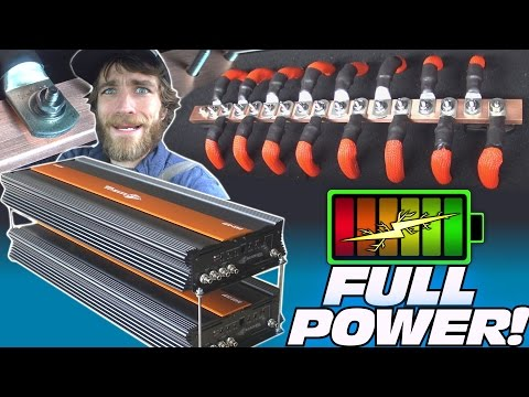 10,000 Watt CAR AUDIO Installation w/ TheAmpLab LITHIUM Battery Install & STACKING UP 12v Bass Amps