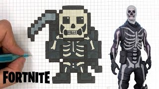 HOW TO DRAW SKULL TROOPER PIXEL ART SKIN FORTNITE