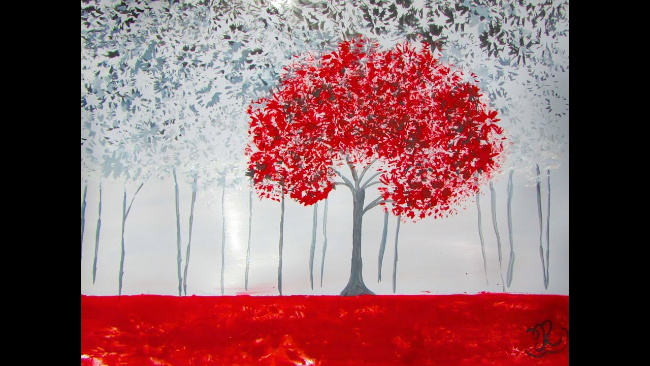 Draw And Paint Red & Black Forest - Acrylic Painting