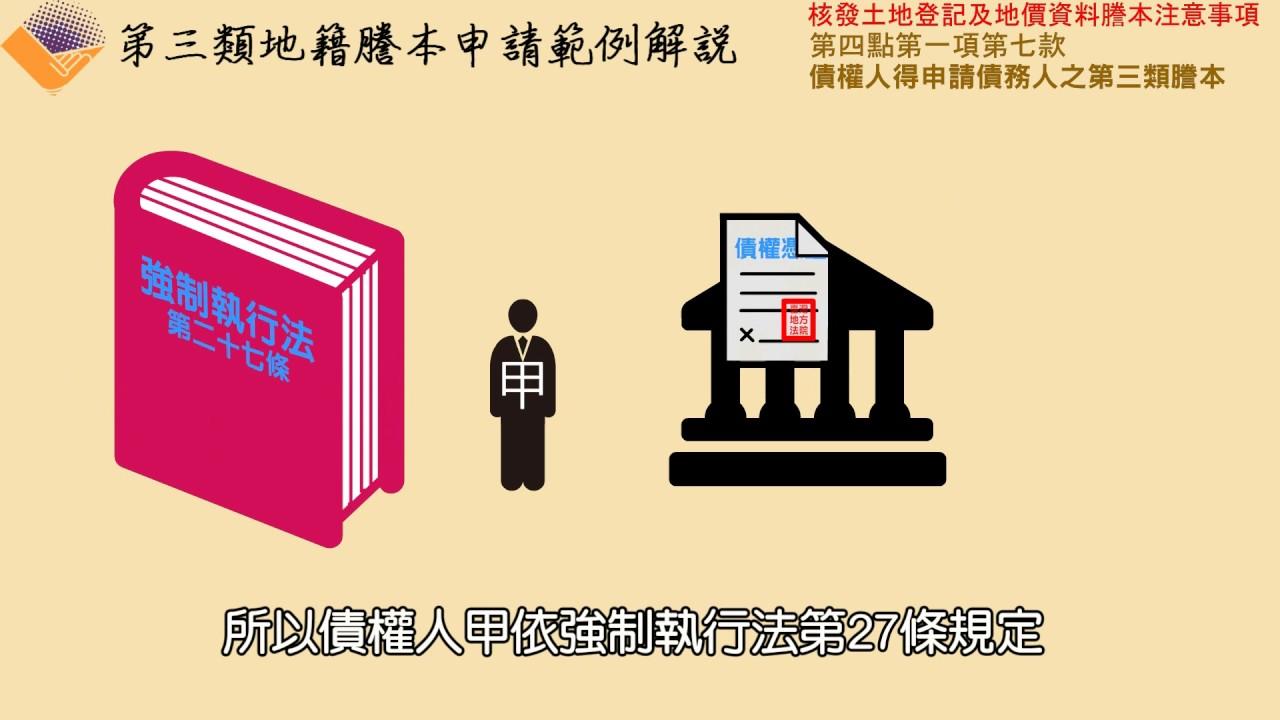 【第4點第1項第7款】債權人得申請債務人之第三類謄本 - YouTube
