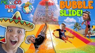 GIANT BUBBLE WATER SLIDE! Cancun Mexico Waterpark! Moon Palace Grand FUNnel Vision Mexico 2018