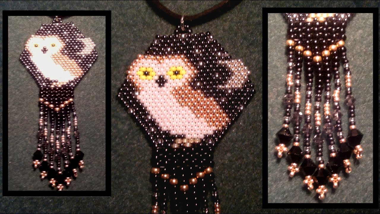 Beading4perfectionists Brick Stitch Beaded Owl Pendant