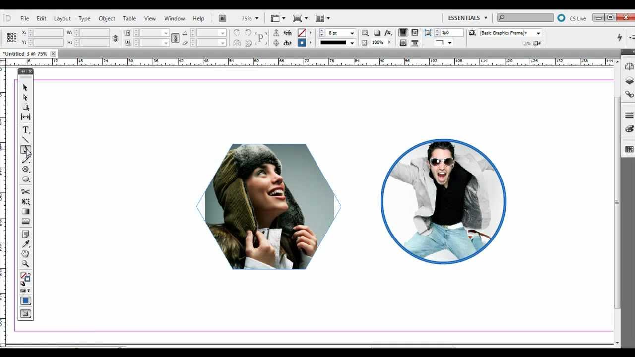 Adobe InDesign: Using the Frame Tools and Shape Tools with Images ...
