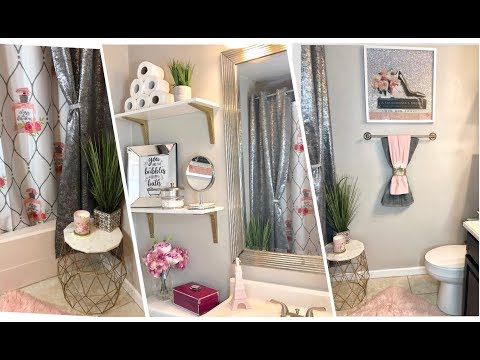 Pink glam bathroom refresh tour    $150 budget bathroom decor 🌸💕🛁