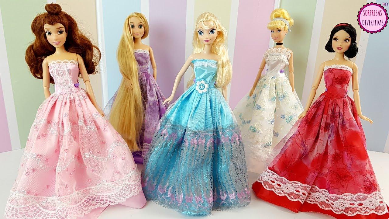 15 Vestidos para Princesas Disney - Muñecas Elsa, Blancanieves, Rapunzel, Bella y Cenicienta