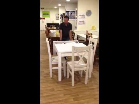 Mesa de cocina cuadrada extensible de Los Pinos Muebles - YouTube