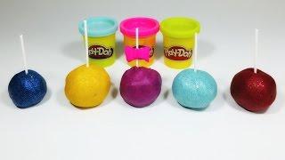 Glitter Play Doh Cake Pops  with Kinder Surprise toys inside! Plasticine modellera пластилін