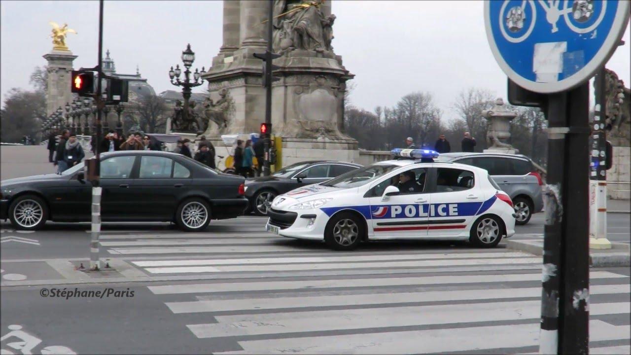 Paris police cars responding (compilation) - YouTube