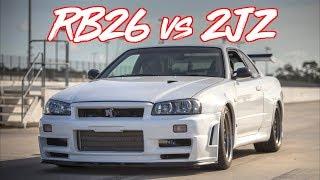 "RB26 VS 2JZ ""THE LEGENDARY BATTLE!"" R34 VS TESLA BONUS"