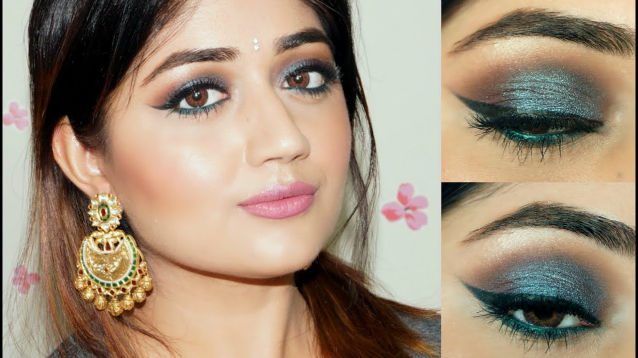Blue Shimmer Indian Festive Makeup Tutorial Corallista