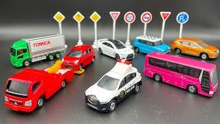 入手困難!トミカ標識セット第4弾!三菱ふそうキャンターレッカー車、UDトラックスクオン、三菱ふそうエアロクイーンバス、マツダCX-5パトロールカー、ランエボンX、スズキハスラー、アルト、エクストレイル