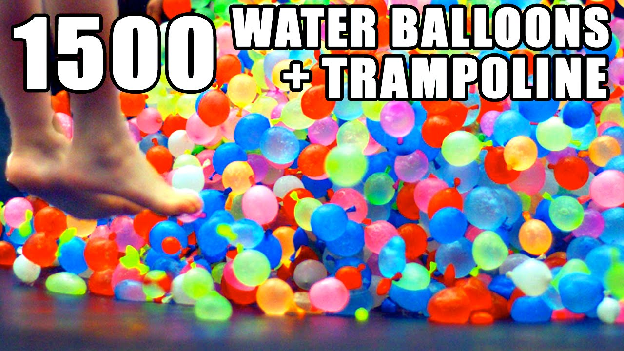 1500 water balloons trampoline slo mo youtube