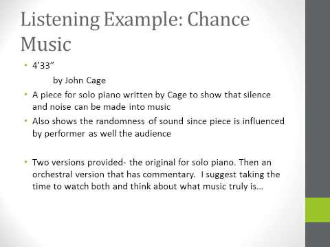Lecture on Chance Music and Percussion Music